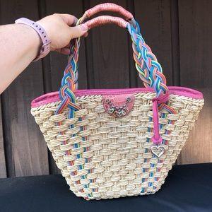 BRIGHTON Woven Straw Color Leather Trim Handbag